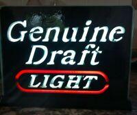 Vintage ElectriGlas Miller Genuine Draft Light Lighted Sign 9.5 x 6.5 Inch