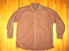 Big & Tall Resistol Rode Gear Brown Pearl Snap Western Cowboy Shirt Sz 2XLT UEC