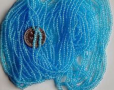 "Sky Blue 11/0 Seed Beads Vintage Round Transparent Glass 20"" Full Hank (7166729)"
