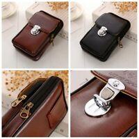 Double Leather Mens Phone Waist Belt Case Bag Pocket Hip Fanny Pack Purse Pouch