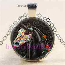 Sugar Skull Horse Photo Cabochon Glass Tibet Silver Pendant Necklace