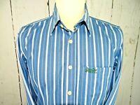 Superdry Black Label Mens Blue / White striped long sleeve shirt, uk Large