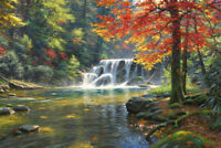 Colorful Forest Waterfall Stream Landscape Oil painting Printed on canvas P989