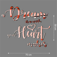 Quote Wall Sticker Rose Gold a Dream is a wish your Hart makes Custom Removable