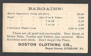 Ca 1875 UX5 MINT FACE LUDLOW VT BOSTON CLOTHING CO MENS SUITS HATS TRUNKS Etc