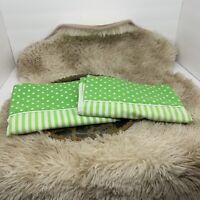 VTG Green White Pillow Cases Stripe Polka Dot 70s King Queen Size Funky Retro