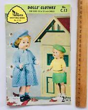 Dolls Clothes Knitting Patterns Vintage Patons Book C 13 - 10-22 inch