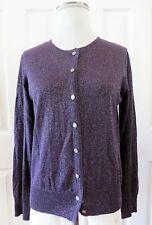 Hillard & Hanson Button Down Cardigan Sweater Purple Glitter Size M
