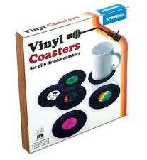 Retro VINYL Records DRINK COASTERS Set of 6 Silicone SPINNING HAT