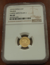 China 1999 Gold 1/20 oz 5 Yuan Panda NGC MS69 Large Date Plain 1