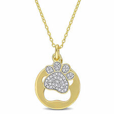 Amour Diamond Yellow-Plated Sterling Silver Paw Charm Pendant