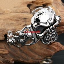 Heavy Gothic Stainless Steel Men's Skull Head Cuff Bangle Bracelet Biker Jewelry