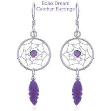 Dream Catcher Silver Earrings Boho Handmade Amethyst GEMSTONE Bohemian Feather