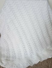 New Soft White Hand Knitted Baby Shawl / Blanket