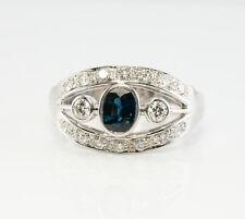 Diamond Sapphire Ring 18K White Gold Band