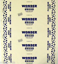 Vintage bread wrapper WONDER PULLMAN LOAF dated 1955 Kansas City Missouri unused
