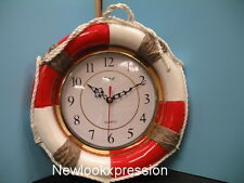 Nautical LIFE BELT wall clock Decor Kitchen 3D NEW MARINE Home set Bar Boat