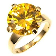 Gold Citrine Cocktail Ring Solitaire Canary Yellow Cubic Zirconia Size 10 USA