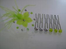 Lot Pics/accessoires/épingles Cheveux Mariée/Mariage/Soirée Vert Anis/Gris fleur