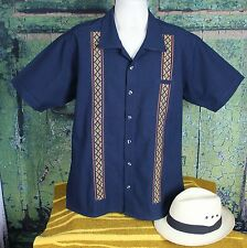 Midnight Blue Embroidered Men's Guayabera Latin American Shirt Cotton Mexico