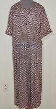 1950's Purple Print Jersey Knit Dress Xl W- 41