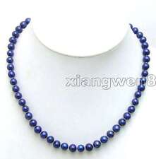 "6-7mm Round Blue Natural Freshwater Pearl Necklace for Women Chokers 17"" nec5450"