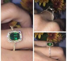 1.20Ct Cushion Cut Emerald Halo Engagement Ring 14K Yellow Gold Finish