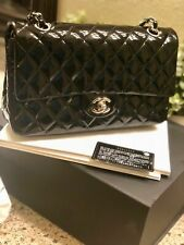 Authentic CHANEL black quilted patent leather shoulder bag (Medium)