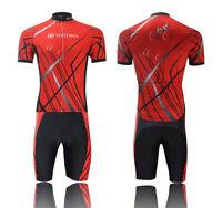 Cycling Short Sleeve Clothing Set Bike Bicycle Suit Jersey + (Bib) Shorts Red