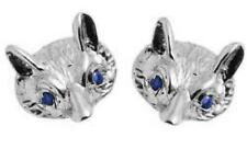 Earrings Fox Head 9ct Gold Studs with Sapphire Eyes Hand Crafted