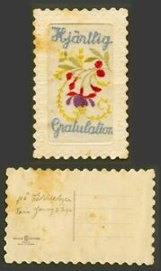 WW1 SILK Embroidered French Old Postcard Hjartlig Congratulation Flowers Novelty