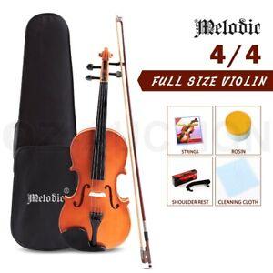 Melodic 4/4 Full Size Acoustic Violin Wooden Natural w/ Rosin Strings Beginner