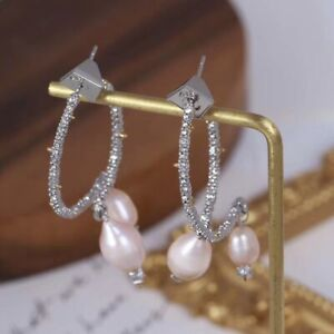 On Sale!! Signed Alexis Bittar Two Part Pave Hoop With Pearl Drop Earrings