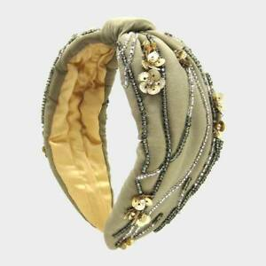 NEW Gold Sequin Flowers Clear & Gray Seed Bead Strand Embroidery Khaki Headband