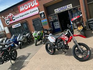 Rieju MRT 50cc Red Supermoto Road Legal Learner Legal Motorcycle