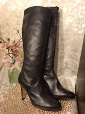 """Cole Haan NikeAir Stretch Boots Size 9.5-10B Brown Leather Knee High 3.5"""" NEW"""