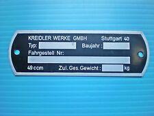 Kreidler Blanko Typenschild 80 x 26 mm Kreidler Werke GMBH Stuttgard 40 NEU