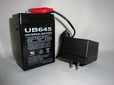 6VOLT 4.5AH RECHARGEABLE GAME FEEDER CAMERA TOY SLA BATTERY & 6V /12V AC CHARGER