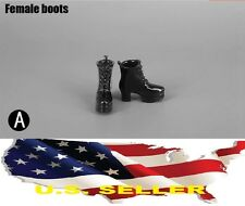 1/6 female shoes high heels black Wedge Boots for phicen kumik hot toys ❶USA❶