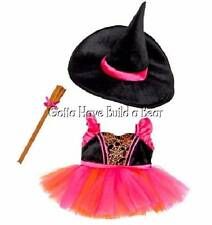 Build-a-Bear Pink Witch Tutu Dress, Hat & Broom Halloween Costume NWT
