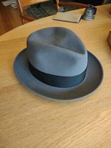 Vintage Knox Premier Gray Felt Fedora Hat 7 3/8 w/ Original Hat Box EXCELLENT!