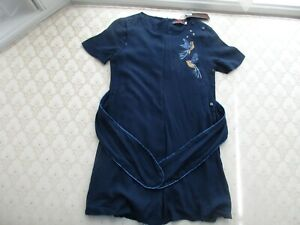 Catimini Girl's Navy Blue 2-in-1 Dots/Birds Prints Short Sleeves Dress, Sz 8