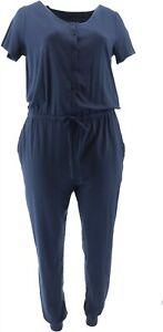 AnyBody Cozy Knit Button Front Jumpsuit Navy XXS NEW A367677