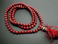 Vintage Red Coral Hand Carved Om Nepal Buddhist Meditation 108 Prayer Mala Beads