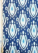 "Fabric Navy Ikat Cerulean Sky Blue Cotton 54"" Wide Richloom NEW ON BOLT BTY"