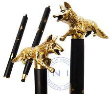 Solid Brass Walking Stick fox head handle vintage black wooden handmade Cane