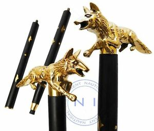 Solid Brass Walking Stick fox head handle vintage black wooden handmade Cane