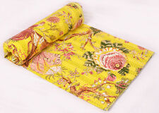 Indian Cotton Kantha Handmade Beddding Bedspread Quilt Queen Throw Floral Print