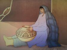 "RC Gorman Original Stone Lithograph ""Woman From 3rd Mesa"" 1988 27X36"