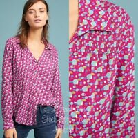 Maeve Anthropologie Emory Pink Geometric Print Button Down Blouse Shirt 6 Gold